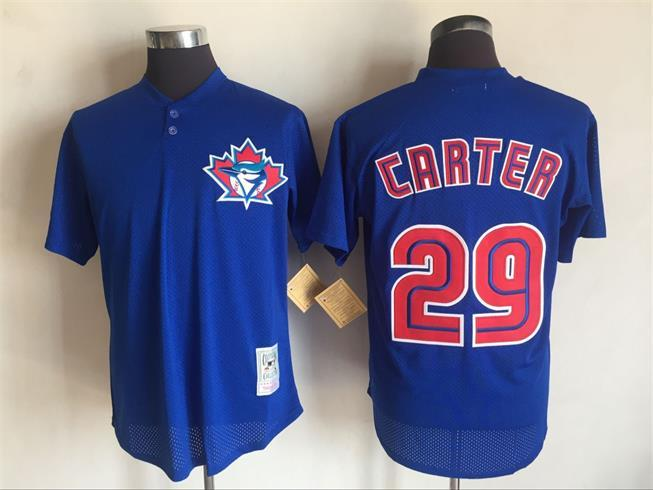 Men's Toronto Blue Jays #29 Joe Carter Mitchell And Ness Blue 1997 Throwback Stitched MLB Jersey