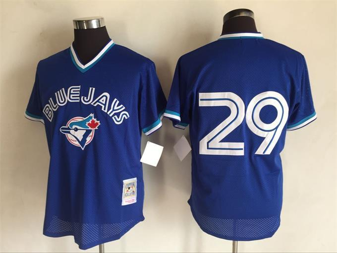 Men's Toronto Blue Jays #29 Joe Carter Mitchell And Ness Royal Blue 1993 Throwback Stitched MLB Jersey