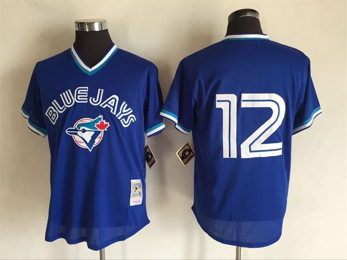 Men's Toronto Blue Jays #12 Roberto Alomar Mitchell And Ness Royal Blue Throwback Stitched MLB Jersey