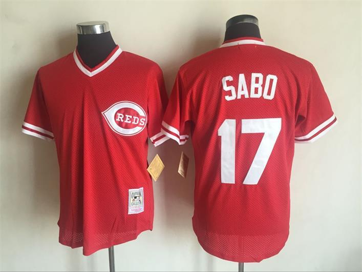 Men's Cincinnati Reds #17 Chris Sabo Mitchell And Ness Red 1990 Throwback Stitched MLB Jersey