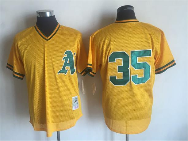 Men's Oakland Athletics #35 Rickey Henderson Mitchell And Ness Yellow 1984 Throwback Stitched MLB Jersey
