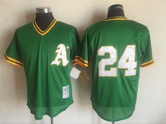 Men's Oakland Athletics #24 Rickey Henderson Mitchell And Ness Green 1991 Throwback Stitched MLB Jersey