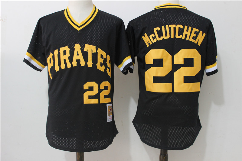 Men's Pittsburgh Pirates #22 Andrew McCutchen Mitchell & Ness Black 1982 Authentic Cooperstown Collection Mesh Batting Practice Stitched MLB Jersey