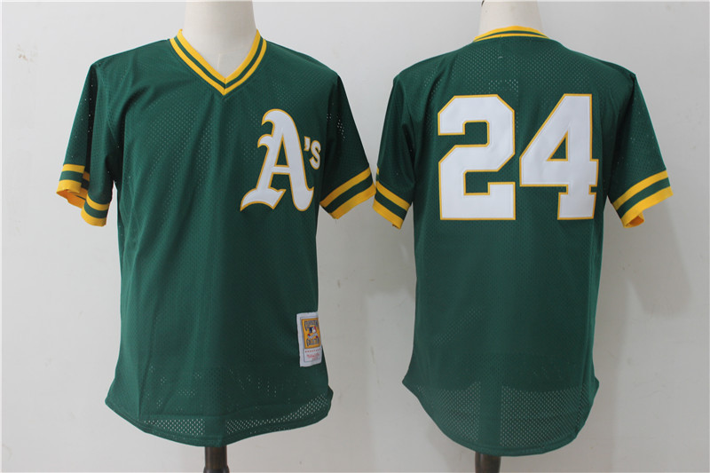 Men's Oakland Athletics #24 Rickey Henderson Mitchell & Ness Green 1991 Cooperstown Mesh Batting Practice Stitched MLB Jersey