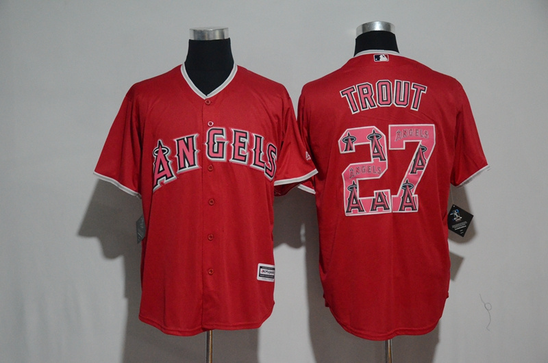 Men's Los Angeles Angels #27 Mike Trout Red Team Logo Print Cool Base Stitched MLB Jersey