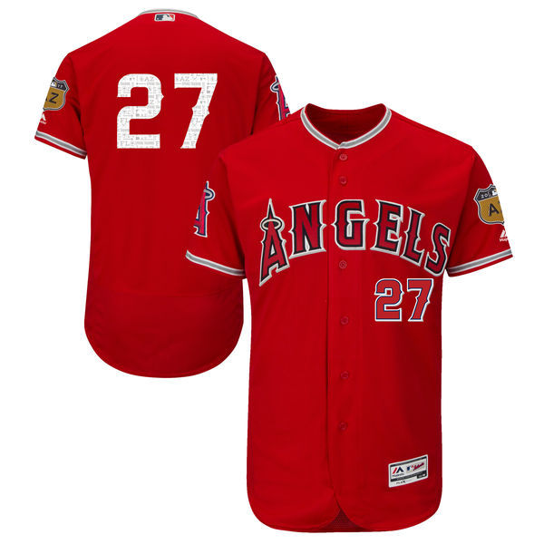 Men's Los Angeles Angels of Anaheim #27 Mike Trout Majestic Scarlet 2017 Spring Training Authentic Flex Base Player Stitched MLB Jersey