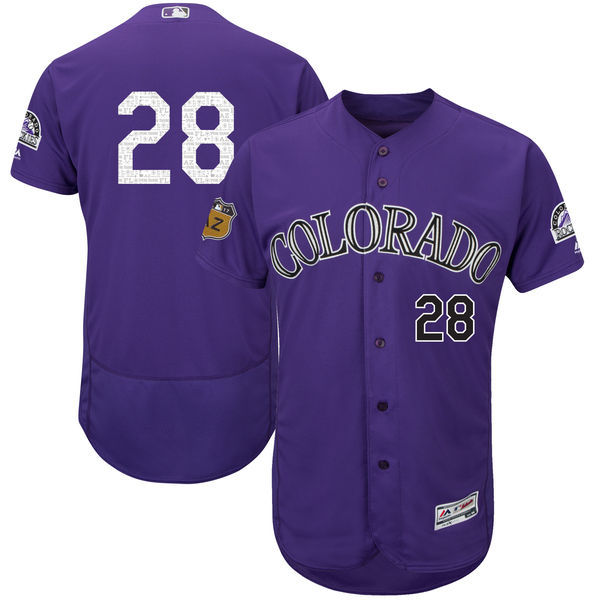 Men's Colorado Rockies #28 Nolan Arenado Majestic Purple 2017 Spring Training Authentic Flex Base Player Stitched MLB Jersey
