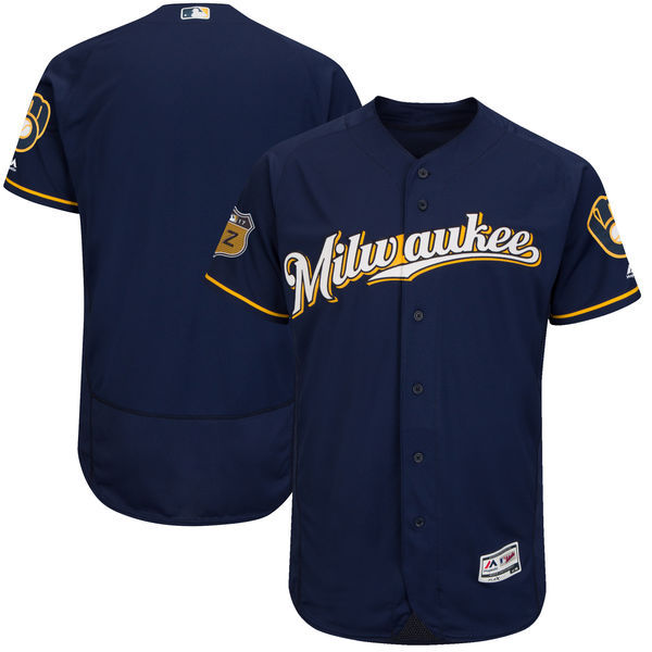 Men's Milwaukee Brewers Majestic Navy 2017 Spring Training Authentic Flex Base Team Stitched MLB Jersey