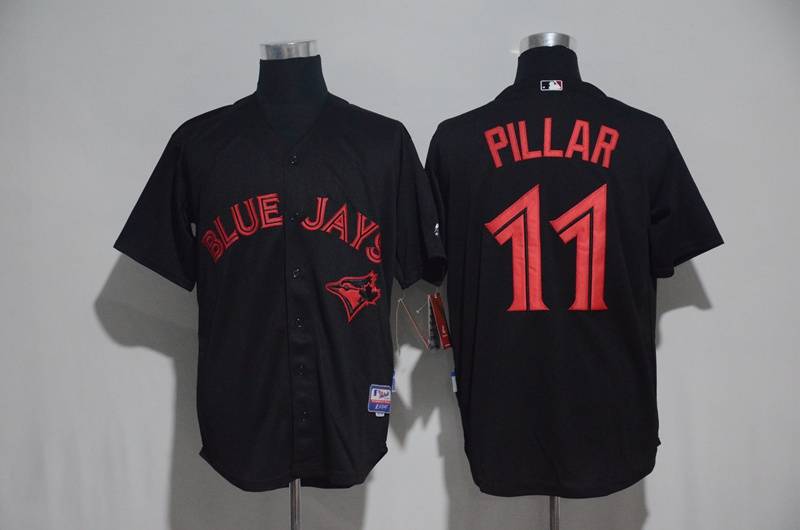 Toronto Blue Jays #11Kevin Pillar Black Strip Stitched MLB Jersey