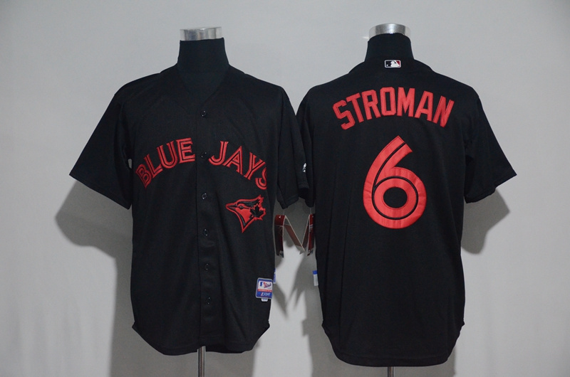 Toronto Blue Jays #6 Marcus Stroman Black Strip Stitched MLB Jersey