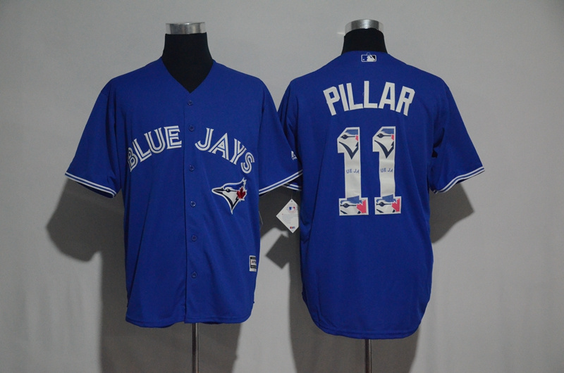 Men's Toronto Blue Jays #11 Kevin Pillar Blue Team Logo Print Cool Base Stitched MLB Jersey