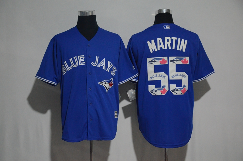 Men's Toronto Blue Jays #55 Russell Martin Blue Team Logo Print Cool Base Stitched MLB Jersey
