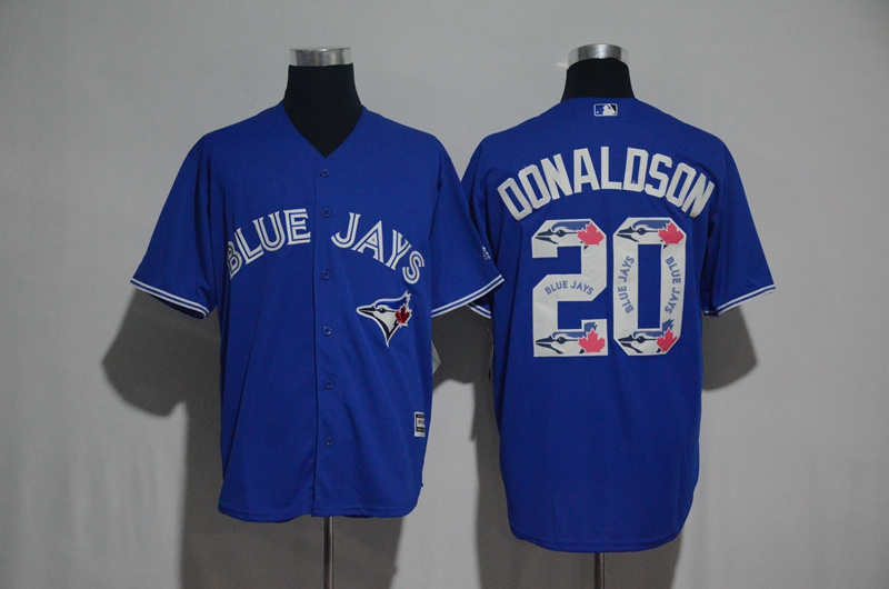 Men's Toronto Blue Jays #20 Josh Donaldson Blue Team Logo Print Cool Base Stitched MLB Jersey