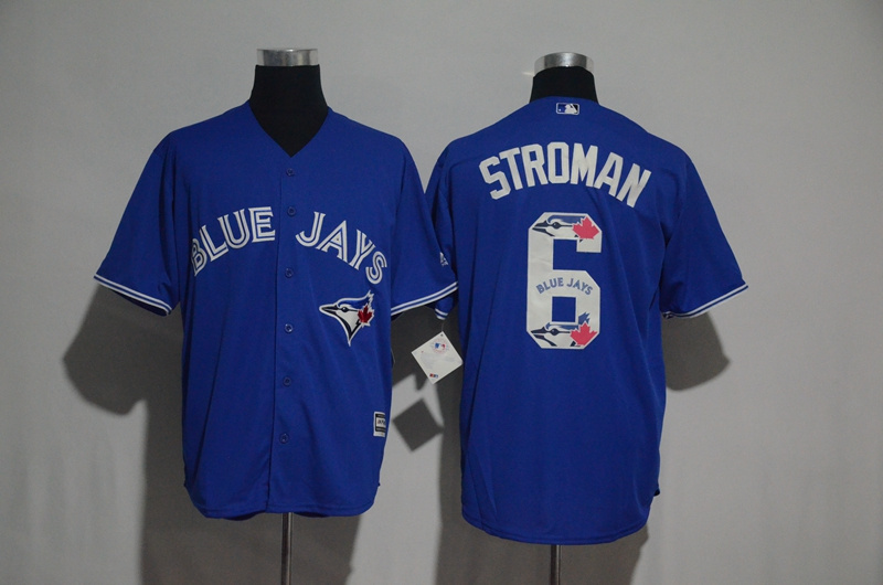 Men's Toronto Blue Jays #6 Marcus Stroman Blue Team Logo Print Cool Base Stitched MLB Jersey