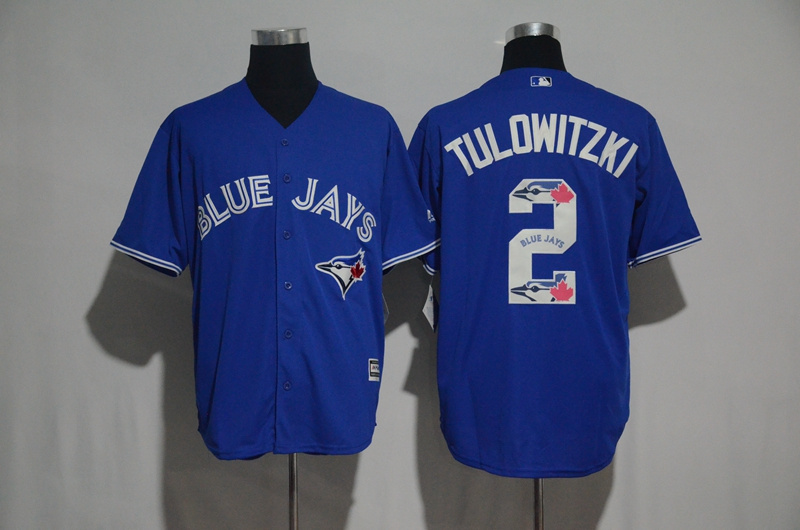 Men's Toronto Blue Jays #2 Troy Tulowitzki Blue Team Logo Print Cool Base Stitched MLB Jersey