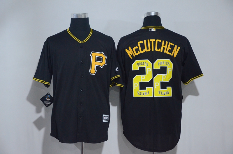 Men's Pittsburgh Pirates #22 Andrew McCutchen Black Team Logo Print Cool Base Stitched MLB Jersey
