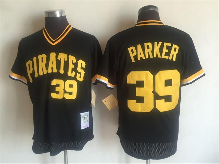 Men's Pittsburgh Pirates #39 Dave Parker Mitchell and Ness Black Throwback Stitched MLB Jersey