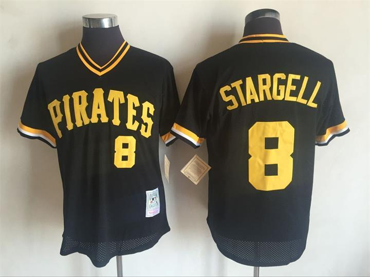 Men's Pittsburgh Pirates #8 Willie Stargell Mitchell and Ness Black Throwback Stitched MLB Jersey