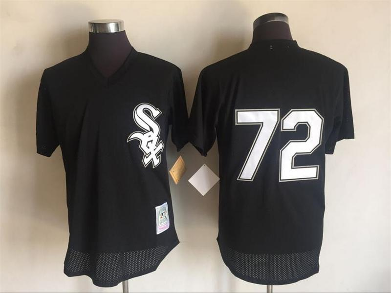 Men's White Sox #72 Carlton Fisk Mitchell And Ness Black 1993 Throwback Stitched MLB Jersey