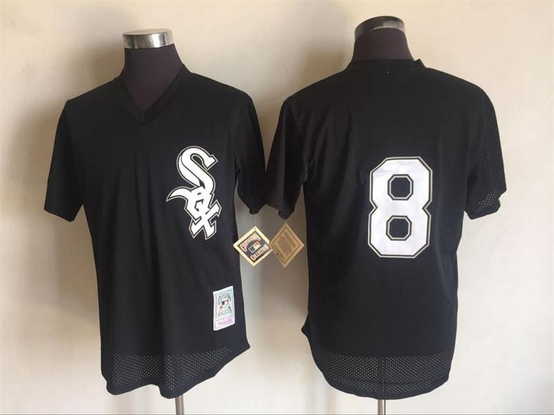 Men's White Sox #8 Bo Jackson Mitchell And Ness Black 1993 Throwback Stitched MLB Jersey