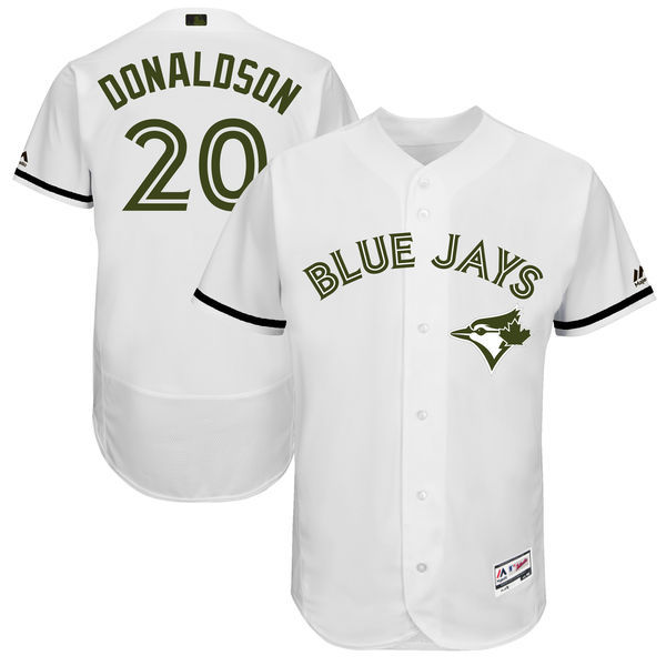 Men's Toronto Blue Jays #20 Josh Donaldson Majestic White 2017 Memorial Day Authentic Collection Flex Base Player Stitched MLB Jersey