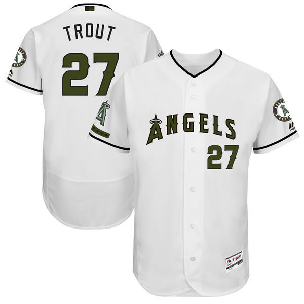 Men's Los Angeles Angels of Anaheim #27 Mike Trout Majestic White 2017 Memorial Day Authentic Collection Flex Base Player Stitched MLB Jersey