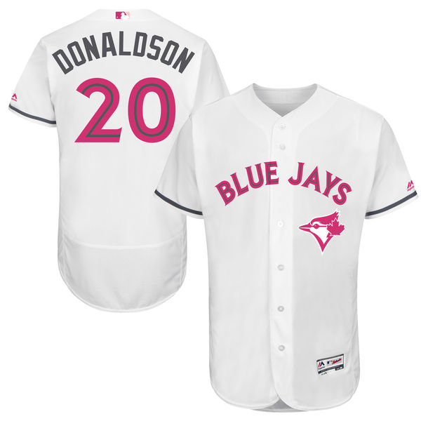 Men's Toronto Blue Jays #20 Josh Donaldson Majestic White Mother's Day Flex Base Stitched MLB Jersey