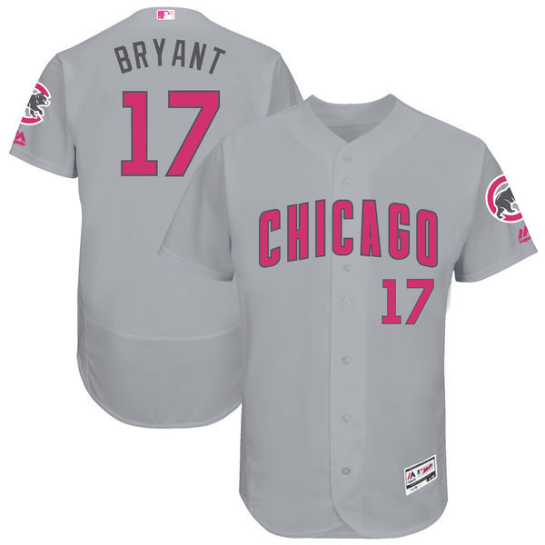 Men's Chicago Cubs #17 Kris Bryant Majestic Gray Mother's Day Flex Base Stitched MLB Jersey