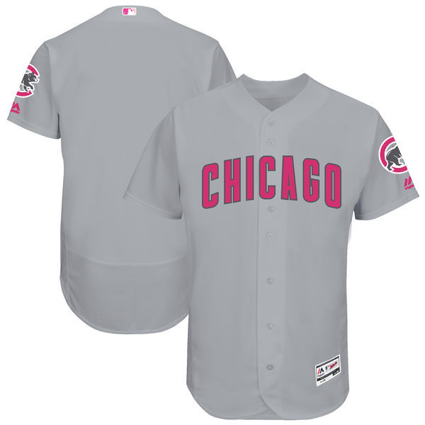 Men's Chicago Cubs Majestic Gray Mother's Day Cool Base Team Stitched MLB Jersey