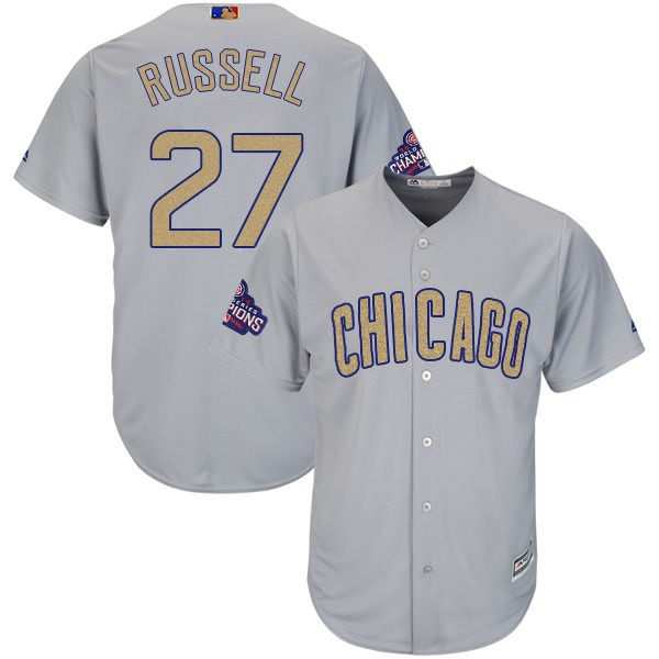 Men's Chicago Cubs #27 Addison Russell World Series Champions Gold Program Cool Base Stitched MLB Jersey