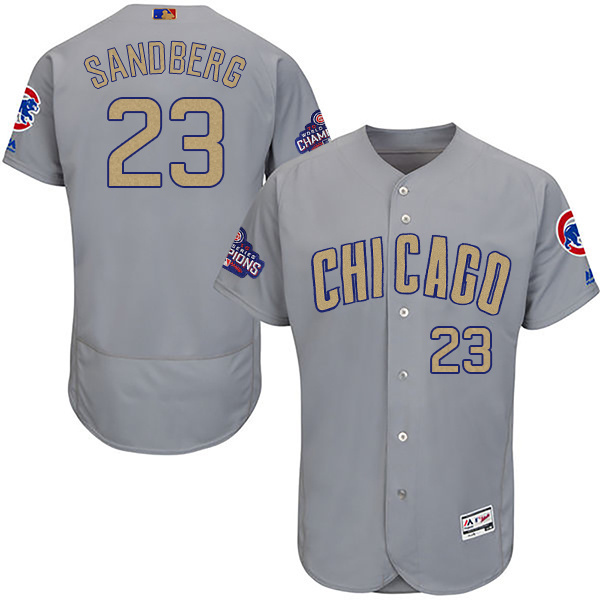 Men's Chicago Cubs #23 Ryne Sandberg World Series Champions Gold Program Flexbase Stitched MLB Jersey