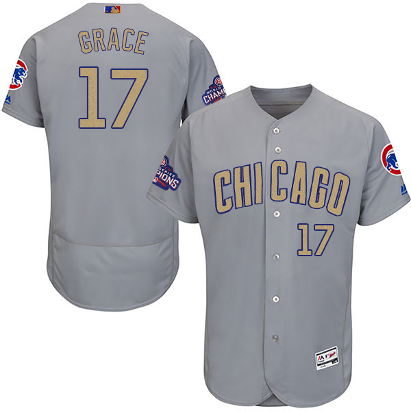 Men's Chicago Cubs #17 Mark Grace World Series Champions Gold Program Flexbase Stitched MLB Jersey