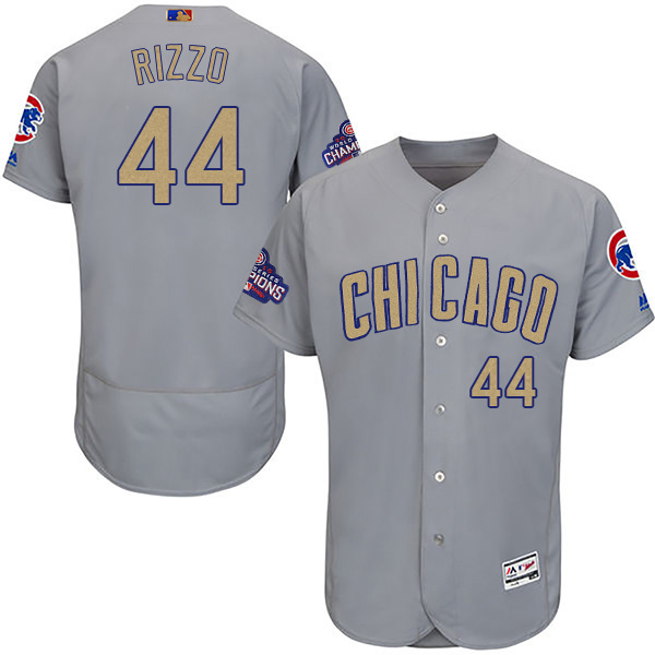 Men's Chicago Cubs #44 Anthony Rizzo World Series Champions Gold Program Flexbase Stitched MLB Jersey