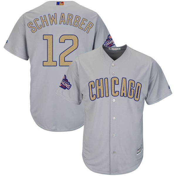 Men's Chicago Cubs #12 Kyle Schwarber World Series Champions Gold Program Cool Base Stitched MLB Jersey