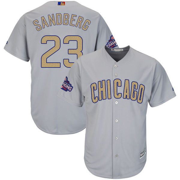 Men's Chicago Cubs #23 Ryne Sandberg World Series Champions Gold Program Cool Base Stitched MLB Jersey