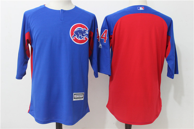 Men's Chicago Cubs #44 Anthony Rizzo Blue/Red Authentic Collection On-Field 3/4 Sleeve Batting Practice Stitched MLB Jersey