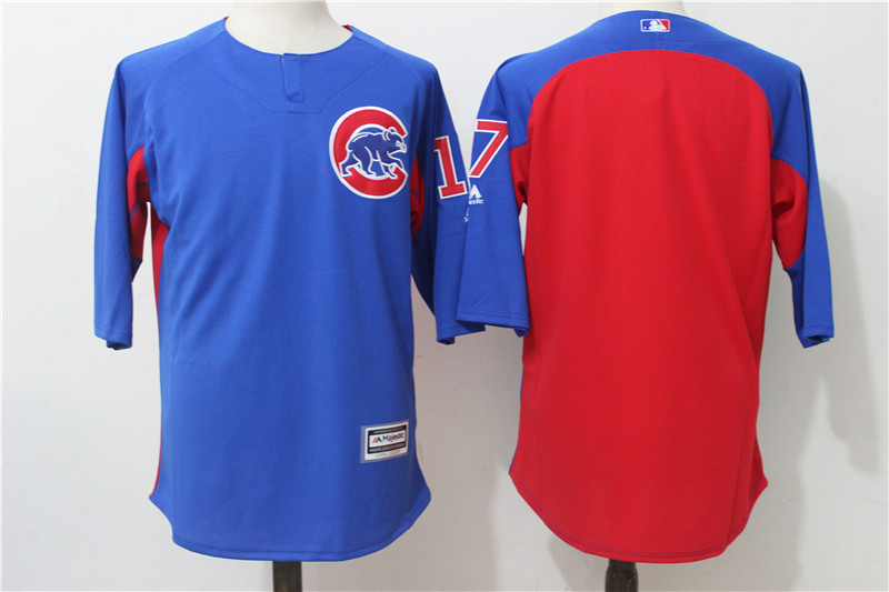 Men's Chicago Cubs #17 Kris Bryant Blue/Red Authentic Collection On-Field 3/4 Sleeve Batting Practice Stitched MLB Jersey