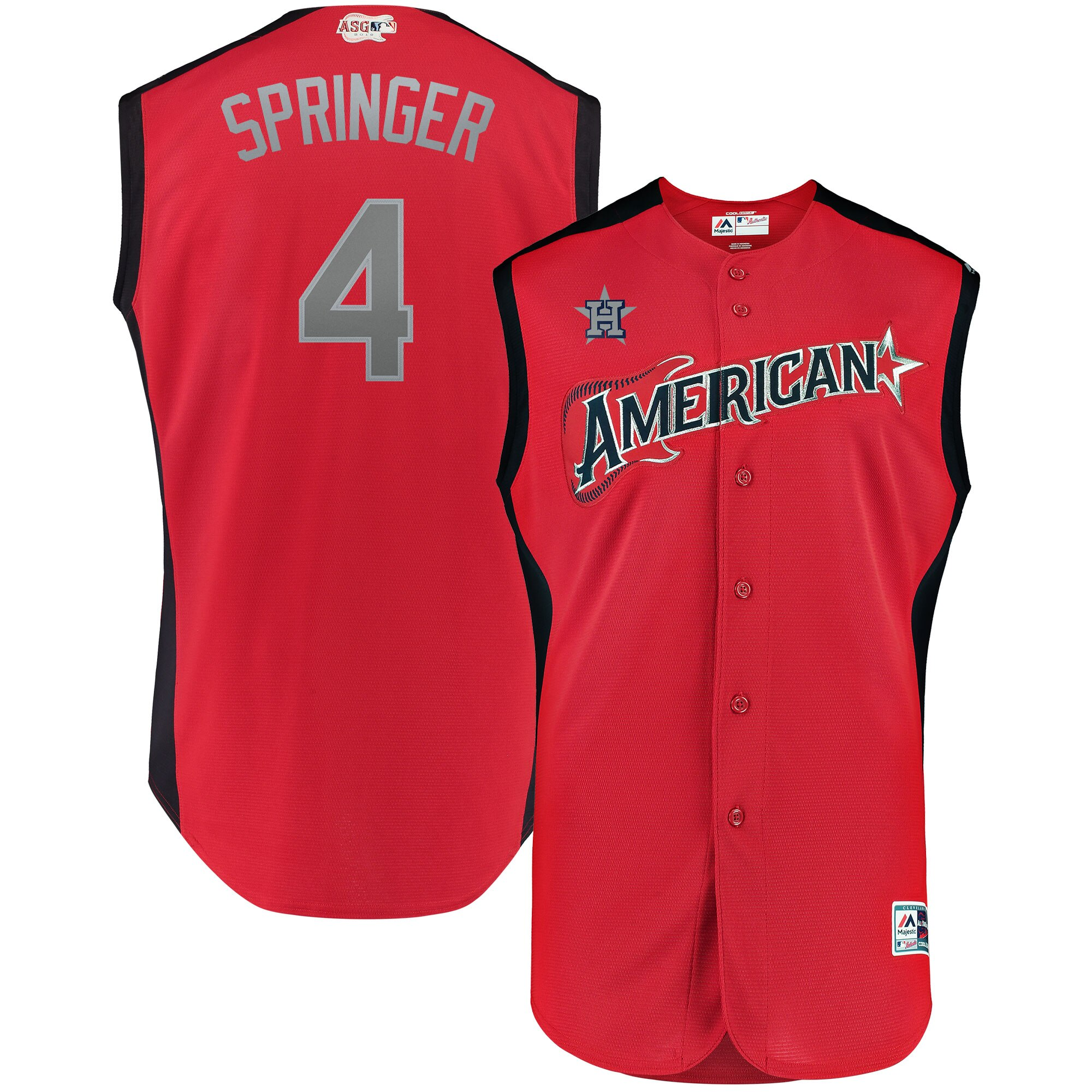 Men's American League George Springer Red 2019 MLB All-Star Game Workout Player Jersey
