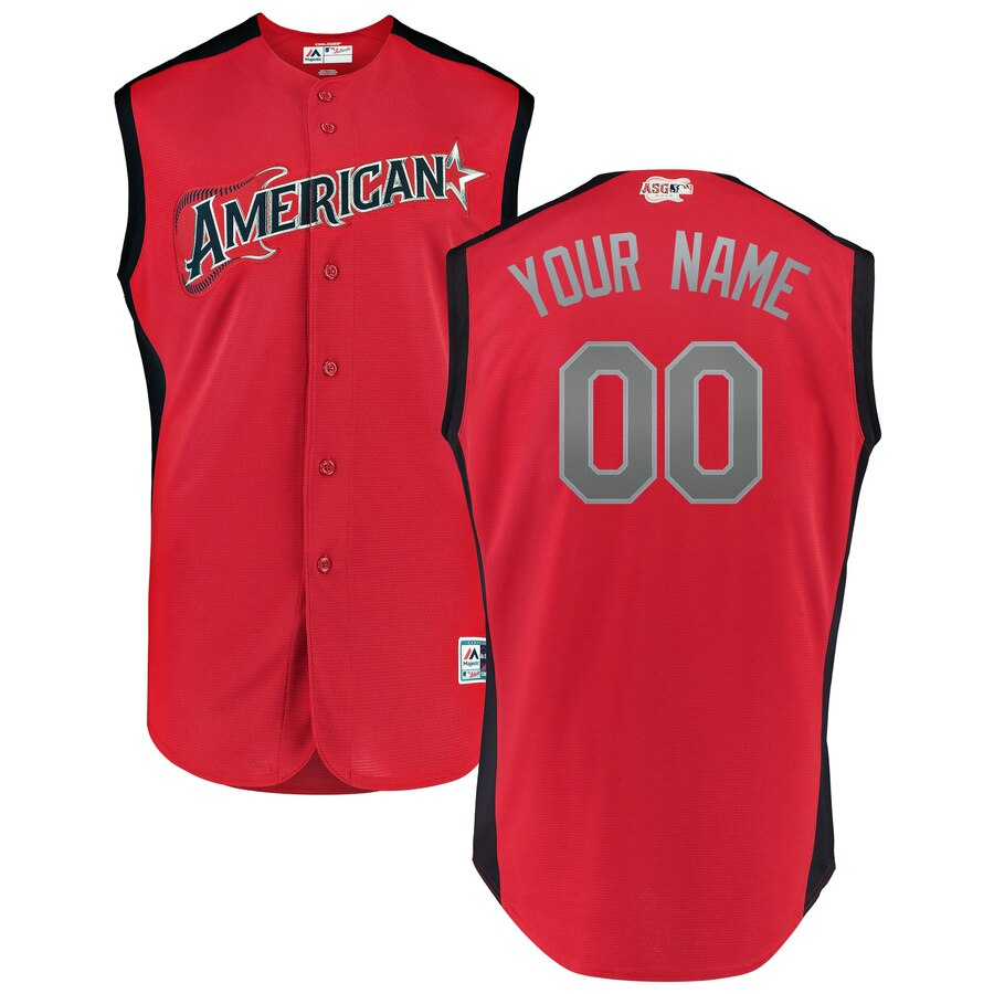 Men's American League Red Navy 2019 MLB All-Star Game Workout Custom Jersey