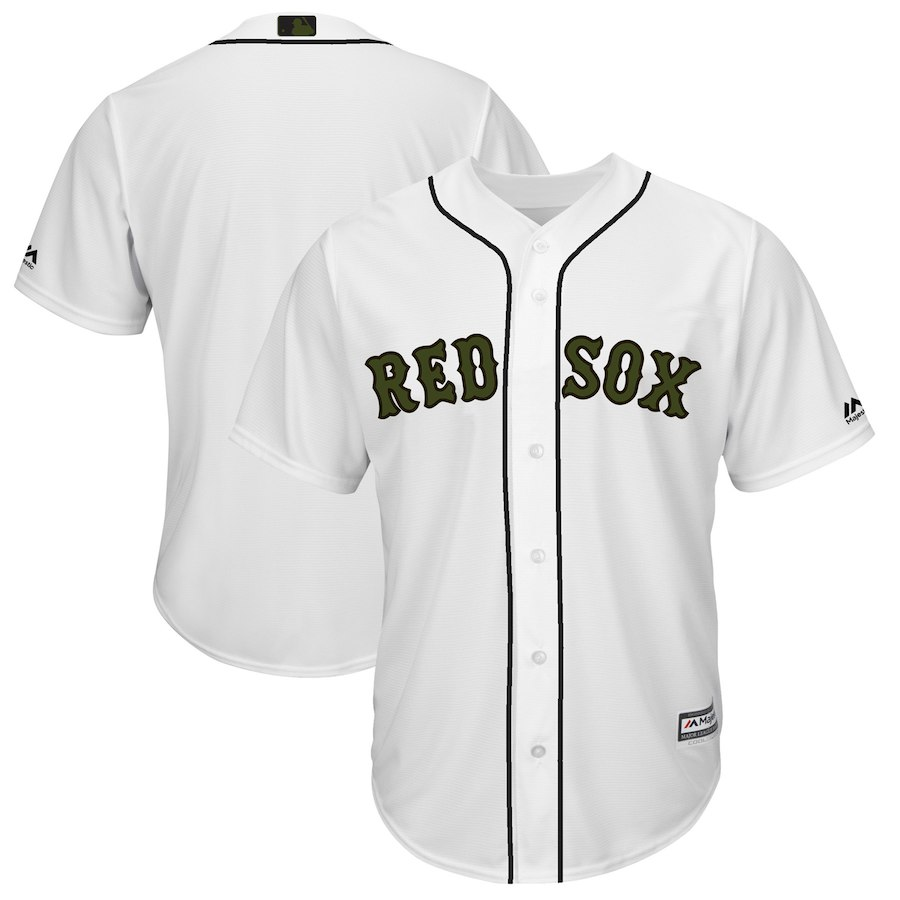 Men's Boston Red Sox White 2018 Memorial Day Cool Base Team Jersey