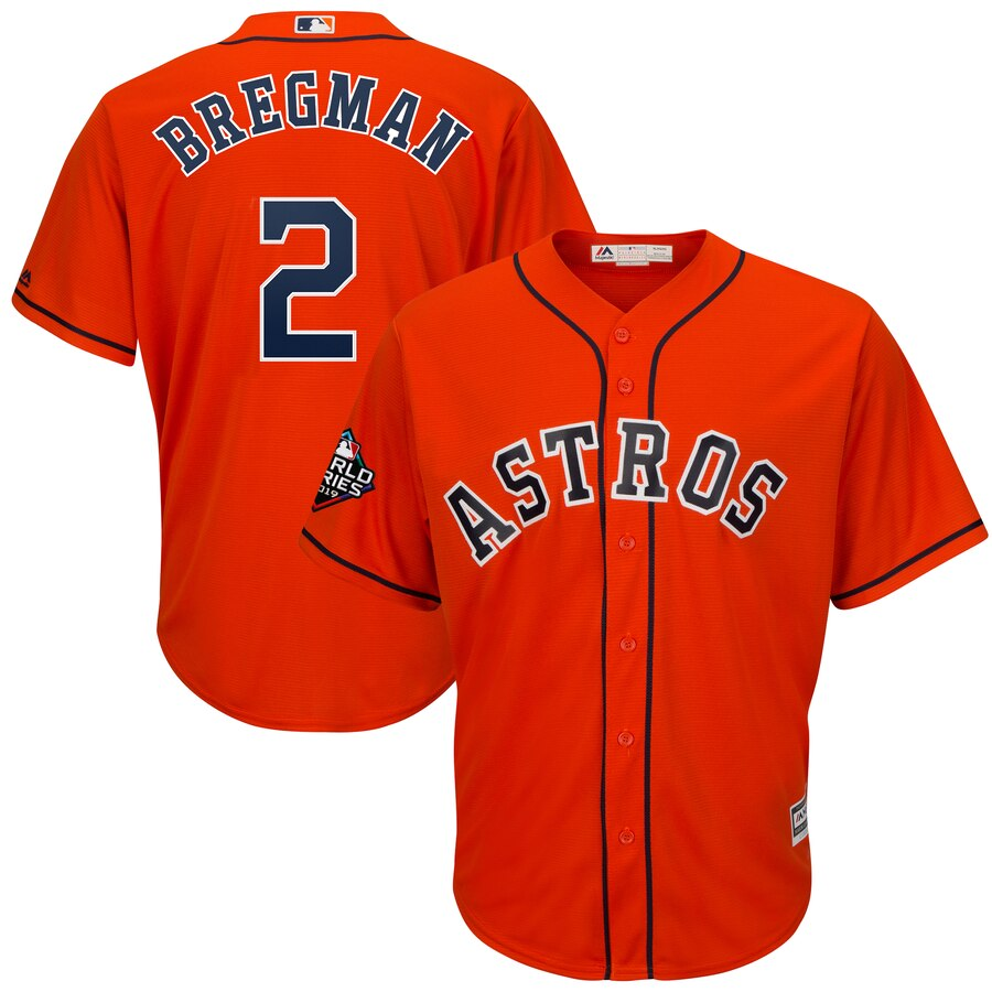 Men's Houston Astros Alex Bregman Orange 2019 World Series Bound Official Cool Base Player Jersey
