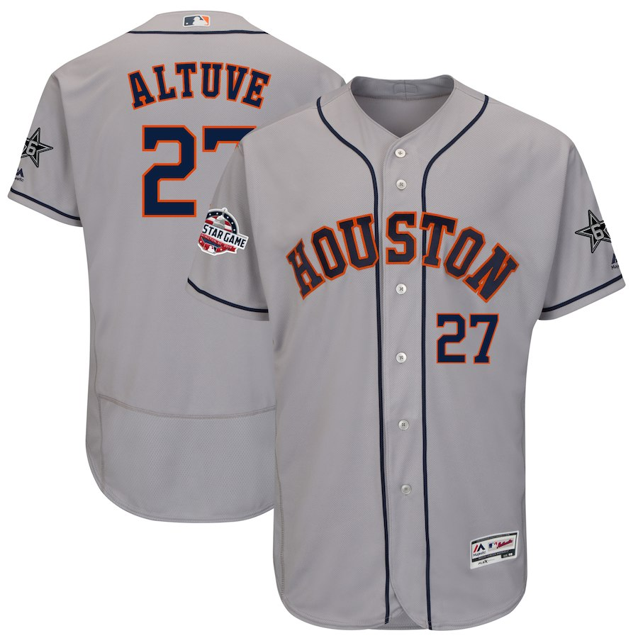 Men's Houston Astros Jose Altuve Gray 2018 MLB All-Star Game Flex Base Player Jersey