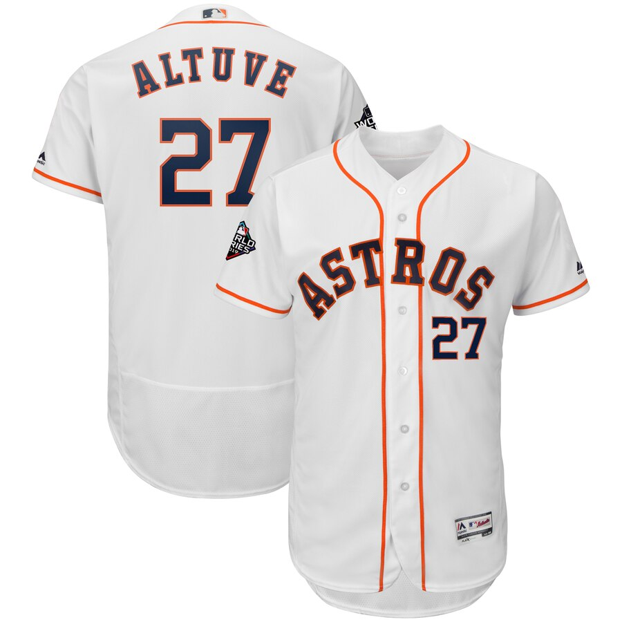 Men's Houston Astros Jose Altuve White 2019 World Series Bound Flex Base Player Jersey