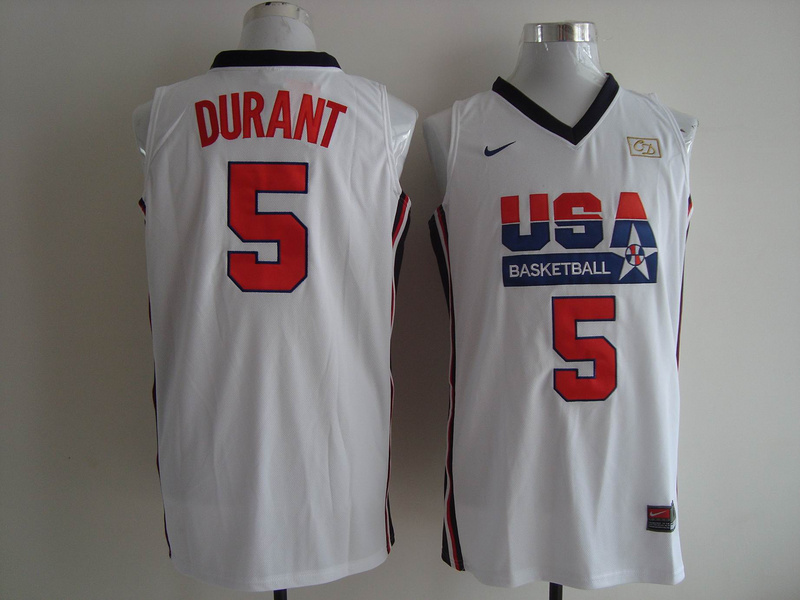 Men's Nike USA 1992 Dream Team #5 Kevin Durant Authentic White Stitched NBA Jersey