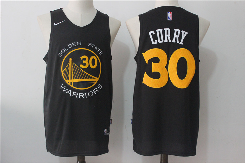 Men's Nike Golden State Warriors #30 Stephen Curry Black Nike Fashion Stitched NBA Jersey