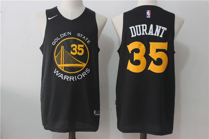 Men's Nike Golden State Warriors #35 Kevin Durant Black Nike Fashion Stitched NBA Jersey