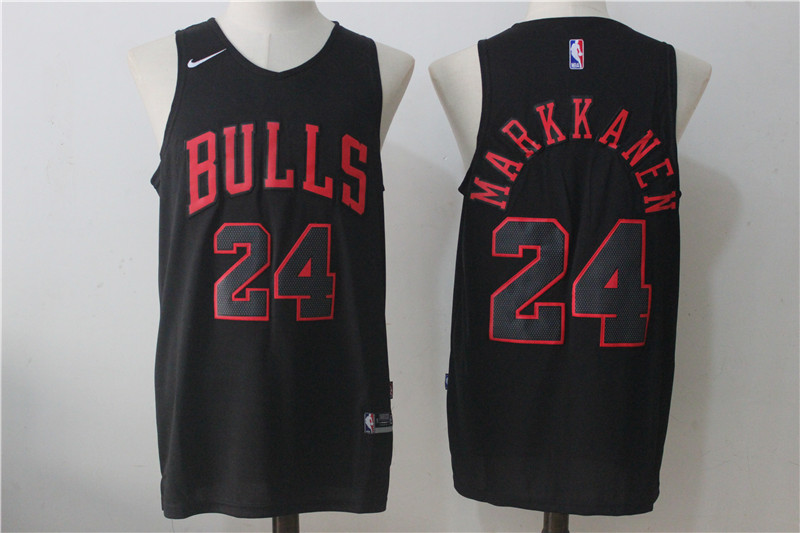 Men's Nike Chicago Bulls #24 Lauri Markkanen Black Fashion Stitched NBA Jersey