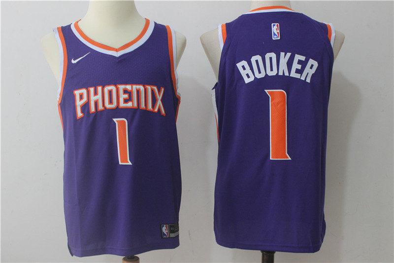 Men's Nike Phoenix Suns #1 Devin Booker Purple Stitched NBA Jersey