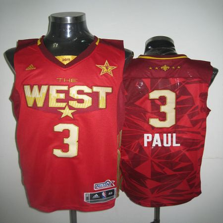 2011 All Star Hornets #3 Chris Paul Red Stitched NBA Jersey