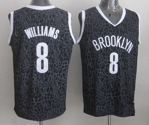 Nets #8 Deron Williams Black Crazy Light Stitched NBA Jersey